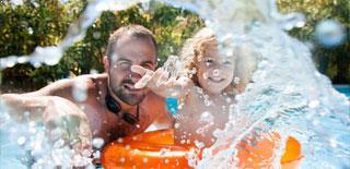 Outdoor seasonal pool at Austell Hotel